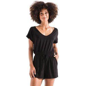 Z Supply The Blaire Sleek Jersey Romper Black S